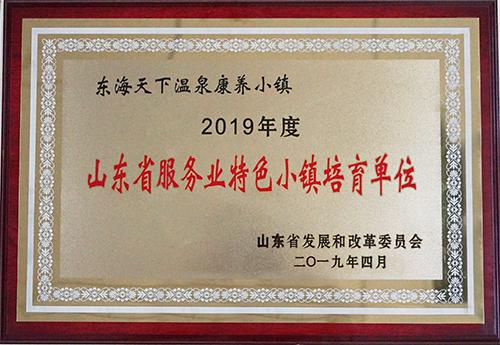 东海天下温泉康养小镇荣获2019年度山东省服务业特色小镇培育单位